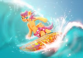 Scootaloo Surfing by Toonlancer