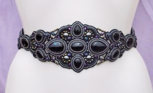 BLACK ONYX + HEMATITE EMBROIDERED BELT - CLOSE UP by Priscillascreations