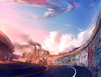 Fisheye Placebo: background concept art by yuumei