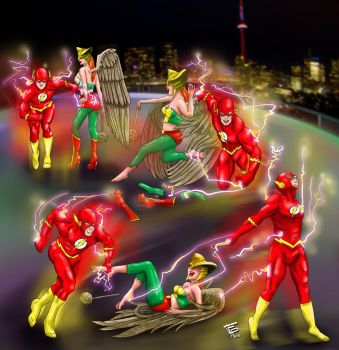 The Flash and Hawk Girl's Tickle Attack by Fantasy-Play