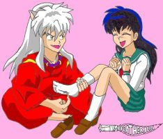 Inuyasha tickles Kagome by FeatherJedi