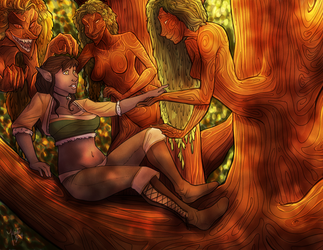 The Elf and the Wood Nymphs by lilkaylii
