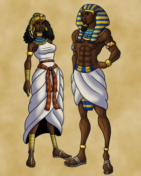 Pharaoh Ramses II and Queen Nefertari (Colors) by TyrannoNinja