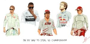 F1 World Champions on the grid by PatheticMortal