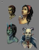 Practice painting with heads. by mishinsilo
