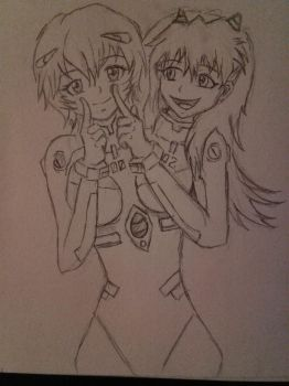Rei and Asuka Conjoined by Cypuss