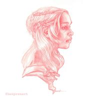 Daenerys red pencil sketch by warballoon