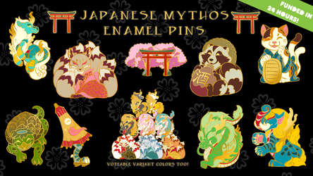 Japanese Mythos Enamel Pin Kickstarter by darktoki