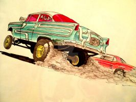 '55 Chevy Gasser drawing by prestonthecarartist