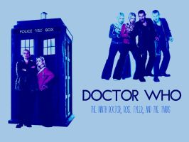Nine, Rose, and The TARDIS - Blue Version by colorfulmangos