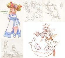 FFxiv Sketches by Lyra-Kotto