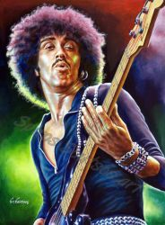 Phil lynott Thin Lizzy portrait painting poster by SpirosSoutsos