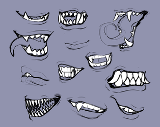 Mouths and Teeth doodles by Bunigiri