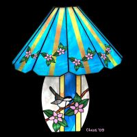 Stained Glass Chickadee Lamp by Christi-Dove