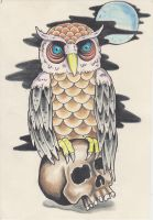 owl and skull by charlesbronson777