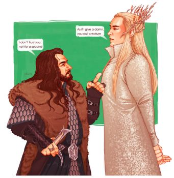 Thorin and Thranduil by Pulvis