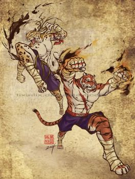 Adon and Sagat (animal versions) by TixieLix