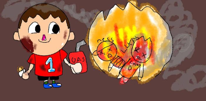 setting ness and lucas on fire by LilVillager