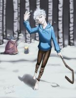 Jack Frost and Bunnymund in the snow by doramsc