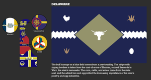 New Delaware Flags, state flag and map by djinn327