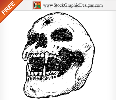 Hand Drawn Human Skull Brush by Stockgraphicdesigns