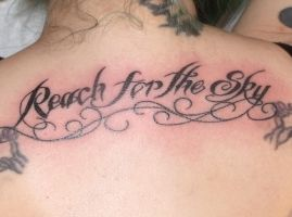 Reach for the sky lettering by IAteAllMyPaste