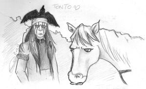 The Lone Ranger-Tonto and Horse by giadina96