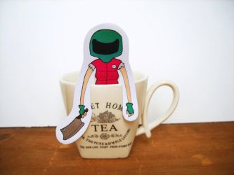 Hotline Miami Biker - tea hanger by OMEGA86