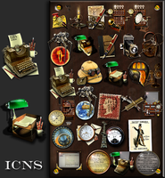 Steampunk icon set in .ICNS format by yereverluvinuncleber