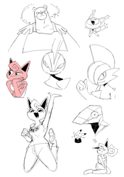 pokemon doodle sheet by Aw0