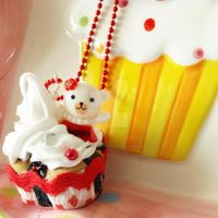 Happy Bear Cupcake Necklace by AndyGlamasaurus