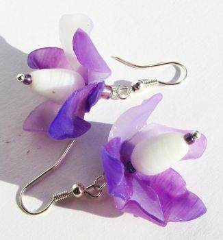 Fairy Flower Earrings Violet Lilac Lavender by Ravensilver