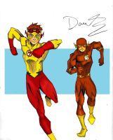 Kidflash and Flash- YJ art by RJDJ-Productions