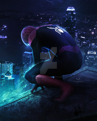 NEON CITY SPIDER-MAN FAR FROM HOME by iMizuri
