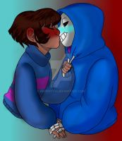 Frisk x Sans Art Collab W/WhisperSeas by Brynwyth