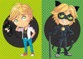 Chibis Adrien and Chat Noir by PolarStar