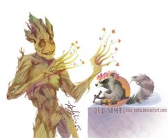 Rocket and Groot by Dew-Sama