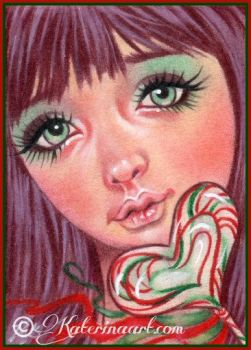 Christmas Candy - ORIGINAL ACEO GIVEAWAY by Katerina-Art