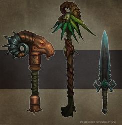 Weapons concept by FirstKeeper