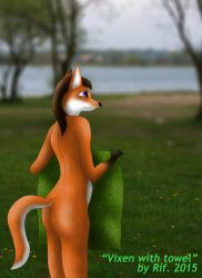 Naturists beach - A Vixen with a towel by RifFox