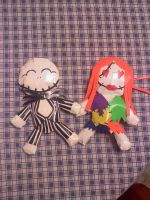Jack and Sally Duck-Tape Dolls by ohmeohmy0530