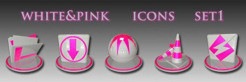 white and pink icon set 1 by xylomon
