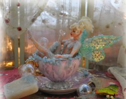 Bubble Bath teacup Tinker Bell by SutherlandArt