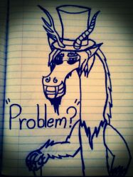 Draconequus Dismal  -  Problem? by bloodfang4523