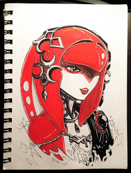 Inktober Day #2: Mipha's Face is Ready by hollarity