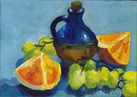Blue Vase With Oranges and Grapes by JMNeedhamArt
