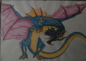 Dragon made by crayon inktense by Wicher91