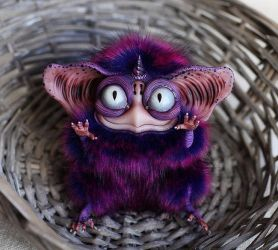 Sowl mini: Purple Imp one horn by Santani