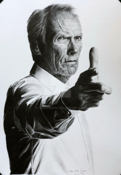 Clint Eastwood - graphite pencils drawing by hand2draw