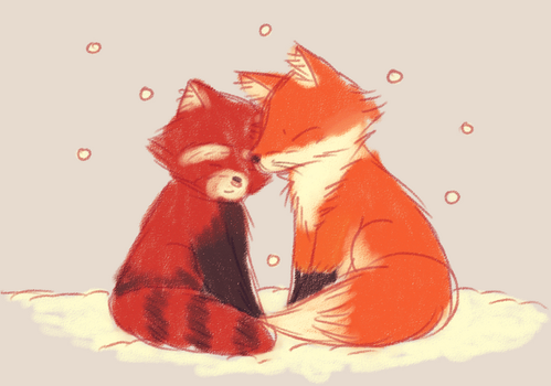 Red panda and fox by mrnvlz
